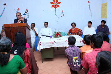 Dr Majeed addressing the students, teachers, PTA members on the occasion. From Left M Shajahan (PTA President), Rev.Fr Anil Lal M Jose, K Pavizhakumari (Headmistress)