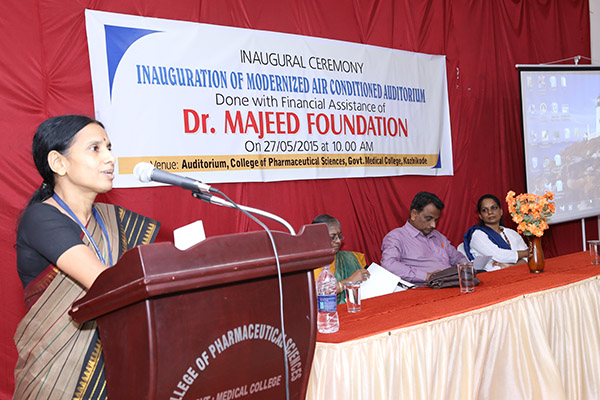 The inauguration of the modernized air conditioned Auditorium was done on 27/05/2015 by former Principal of Calicut Medical College Dr. C. Ravindran in presence of Principal in Charge Dr. Rema Devi. S. All the speakers especially Dr. C. Ravindran greatly appreciated contribution to a government institution.